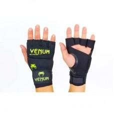 Перчатки с бинтом гелевые из неопрена VENUM VL-5798 чёрные