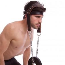 Упряжь для тренировки мышц шеи VL-8189 (кожа, металл)