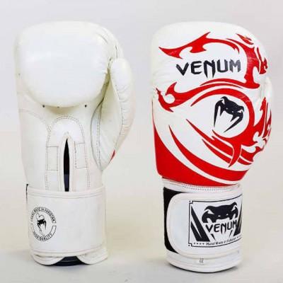 Купить Перчатки боксерские кожаные на липучке VENUM TRIBAL VL-5777-W