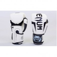 Перчатки боксерские PU на липучке VENUM BO-5698-W бело чёрные