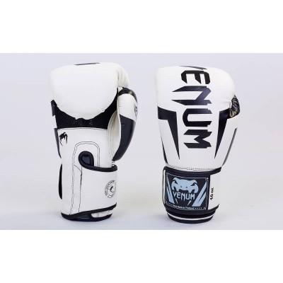 Купить Перчатки боксерские PU на липучке VENUM BO-5698-W бело чёрные