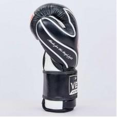 Перчатки боксерские кожаные на липучке VELO VL-8188-BK