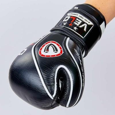 Купить Перчатки боксерские кожаные на липучке VELO VL-8188-BK
