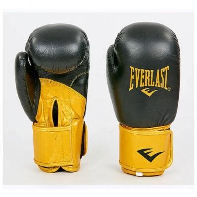 Купить Перчатки боксерские кожаные EVERLAST MA-6750-BKG черно золотые
