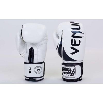 Купить Перчатки боксерские кожаные VENUM BO-5238-WBK белый-черный