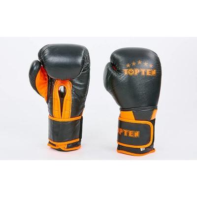 Купить Перчатки боксерские кожаные TOP TEN MA-6756-OR черный-оранжевый