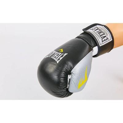 Купить Перчатки боксерские кожаные EVERLAST MA-6750-BKS черный-серебро
