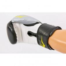 Перчатки боксерские кожаные EVERLAST MA-6750-BKS черный-серебро
