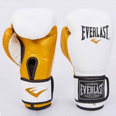 Купить Перчатки боксерские кожаные EVERLAST MA-6750-W белый-золото