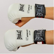 Перчатки для каратэ EVERLAST BO-3956 (PU , манжет на резинке, белый)