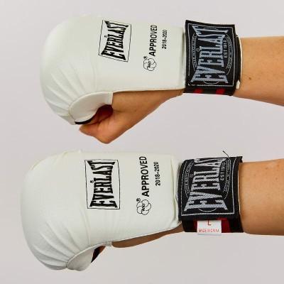 купить Перчатки для каратэ EVERLAST BO-3956 (PU, манжет на резинке, белый)