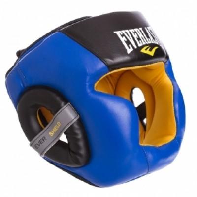 Шлем боксерский с полной защитой кожаный EVERLAST EV-016 синий