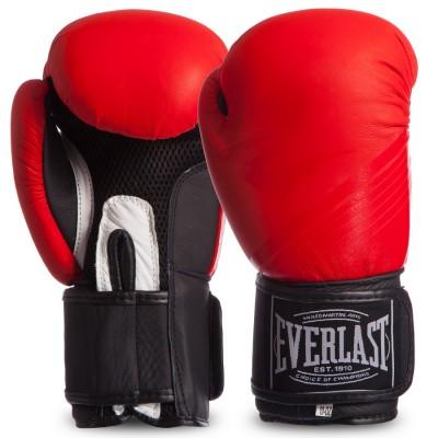Перчатки боксерские кожаные на липучке EVERLAST MA-0704 MATT Красный-черный