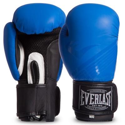 Перчатки боксерские кожаные на липучке EVERLAST MA-0704 MATT сине-черные