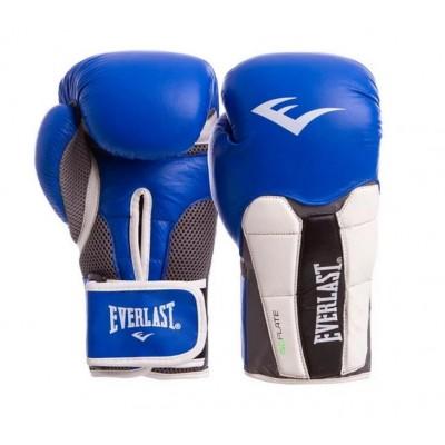 Купить Перчатки боксерские кожаные на липучке EVERLAST сине-белые MA-6759-B