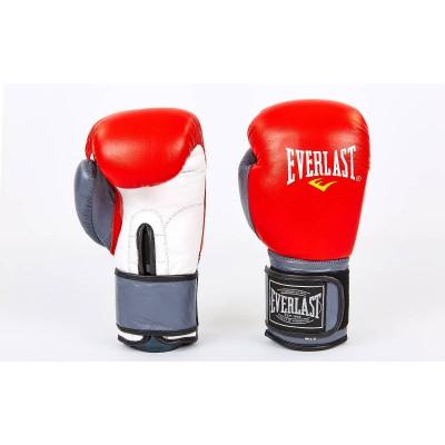 Купить Перчатки боксерские кожаные EVERLAST MA-6750-R красный-серый