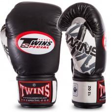 Перчатки боксерские кожаные на липучке TWINS CLASSIC 0269 (р-р 10-16oz, синие и черные)