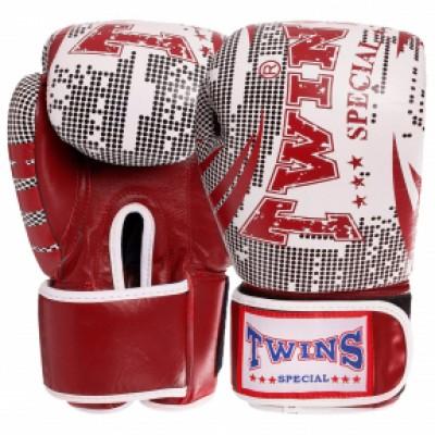 Кожаные боксерские перчатки на липучке TWINS VL-2066 красные