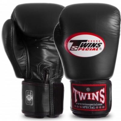 купить Перчатки боксерские кожаные на липучке TWINS BGVL3 черные в rexsport