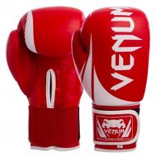 Перчатки боксерские кожаные на липучке VENUM CHALLENGER BO-5245-R красный-белый