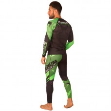 Комплект компрессионный мужской (Лонгслив и штаны) VENUM 8145-8238 (PL, эластан, черный-салатовый)