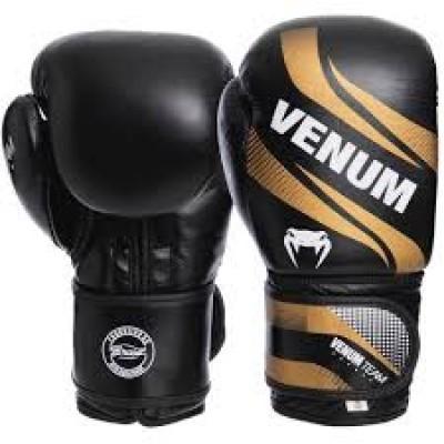 Перчатки боксерские кожаные на липучке VENUM COMMANDO VL-2040 черный золото
