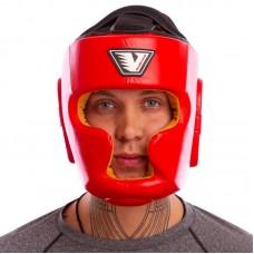 Шлем боксерский с полной защитой кожаный VELO VL-8193-B красный