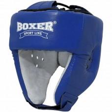 Шлем боксерский Boxer Элит с печатью ФБУ кожа (2031-01С, синий,красный)