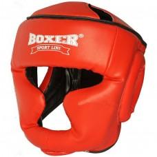 Боксерский шлем Boxer (кожзам) черный, синий, красный