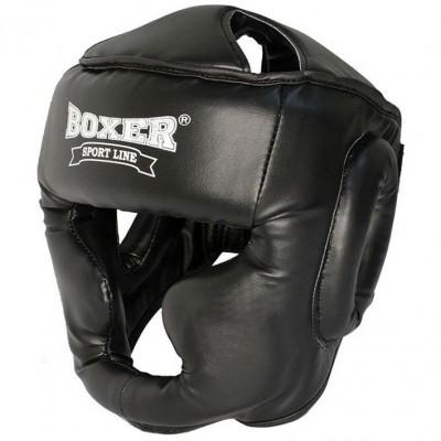 Купить Боксерский шлем Boxer (кожзам) черный, синий, красный