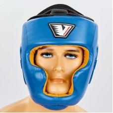 Шлем боксерский с полной защитой кожаный VELO VL-8193-B синий