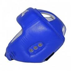 Шлем боксерский REYVEL кожа синий тип 2