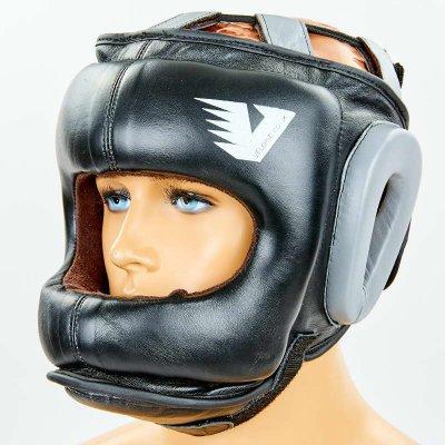 Купить Шлем боксерский с бампером кожаный VELO BO-6636-BK (черный)