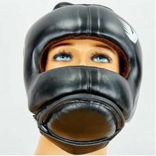 Шлем боксерский с бампером кожаный VELO BO-6636-BK (черный)