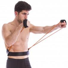 Тренировочная система боксера с поясом FI-6952 (резин.жгут 2 шт. оранж. d-6х10мм, пояс черный W-95-105cм, ручки полиэстер)
