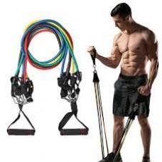 Набор многофункциональных трубчатых эспандеров для фитнеса 5 штук + Чехол