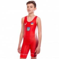 Трико для борьбы UKRAINE JY-6602 красный (бифлекс, рост 120-180см)